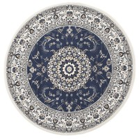 Rug Culture Manal Oriental Round Floor Area Rugs Blue White  PAL-22-BLUW-150X150cm