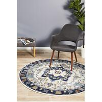 Rug Culture Babylon 201 Floor Area Carpeted Rug Modern Round Navy 200X200cm