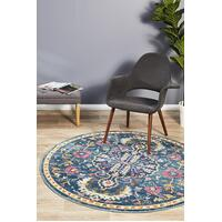 Rug Culture Babylon 209 Floor Area Carpeted Rug Modern Round Navy 200X200cm