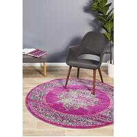 Rug Culture Babylon 211 Floor Area Carpeted Rug Modern Round Fuchsia 150X150cm