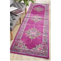 Rug Culture Babylon 211 Floor Area Carpeted Rug Modern Runner Fuchsia 400X80cm