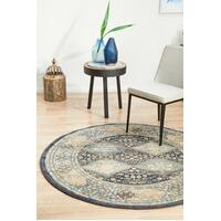 Rug Culture LEGACY 857 Floor Area Carpeted Rug Modern Round Navy 240X240cm