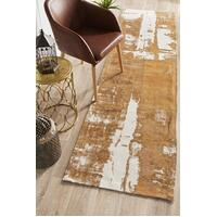 Rug Culture Magnolia 11 Floor Area Carpeted Rug Modern Runner Mustard 400X80cm