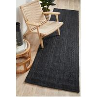 Rug Culture BONDI BLACK Floor Area Carpeted Rug Modern Runner Black 300X80CM